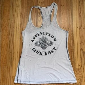 White Affliction tank top with silver foil design